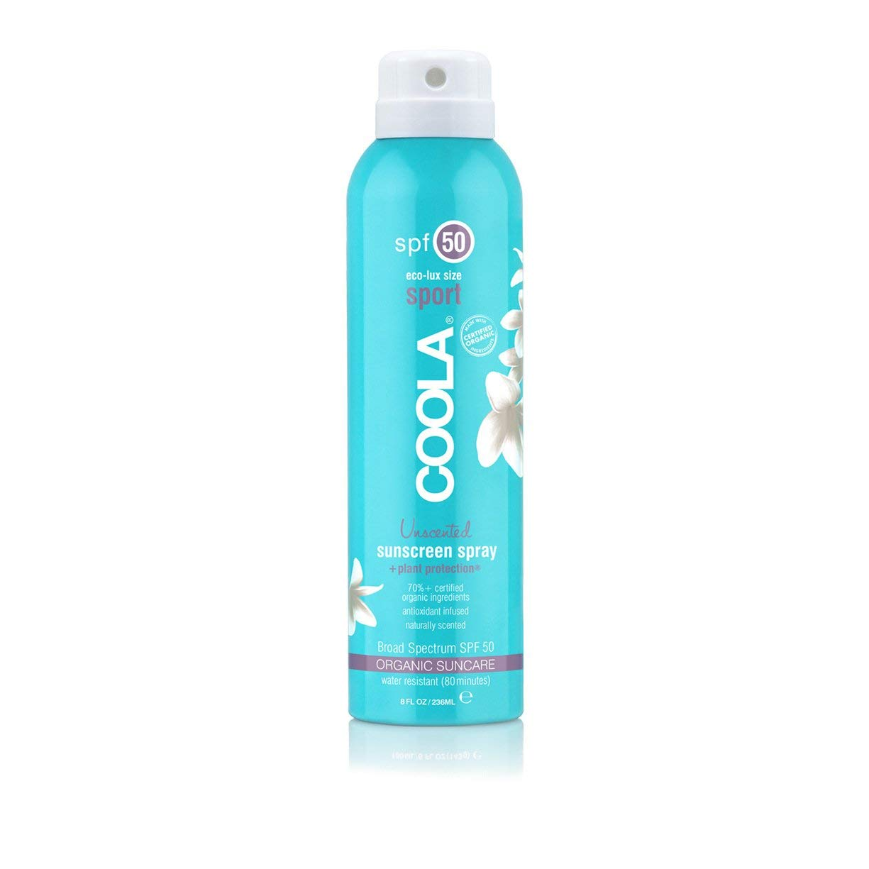 COOLA Organic Unscented Sport Sunscreen Spray | SPF 50 | Certified Organic Ingredients | Farm to Face | Ultra Sheer | Eco-Lux Size | Continuous Spray | Water Resistant