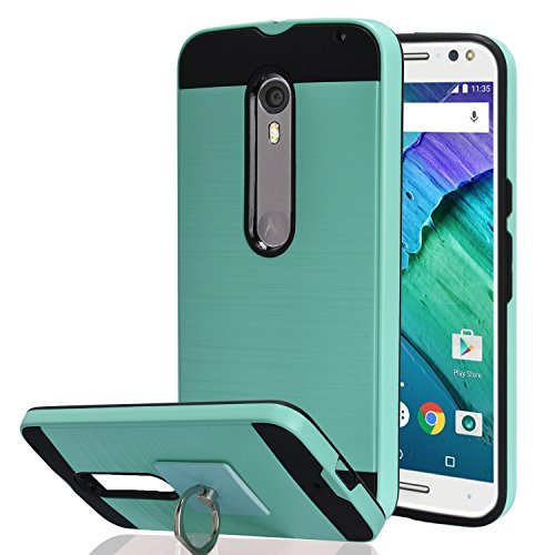 Moto X Pure Edition / Moto X Style / XT1570 Case With Phone Stand,Ymhxcy [Metal Brushed Texture] Hybrid Dual Layer Full-Body Shockproof Protective Cover Shell For Moto X Style-LS Mint