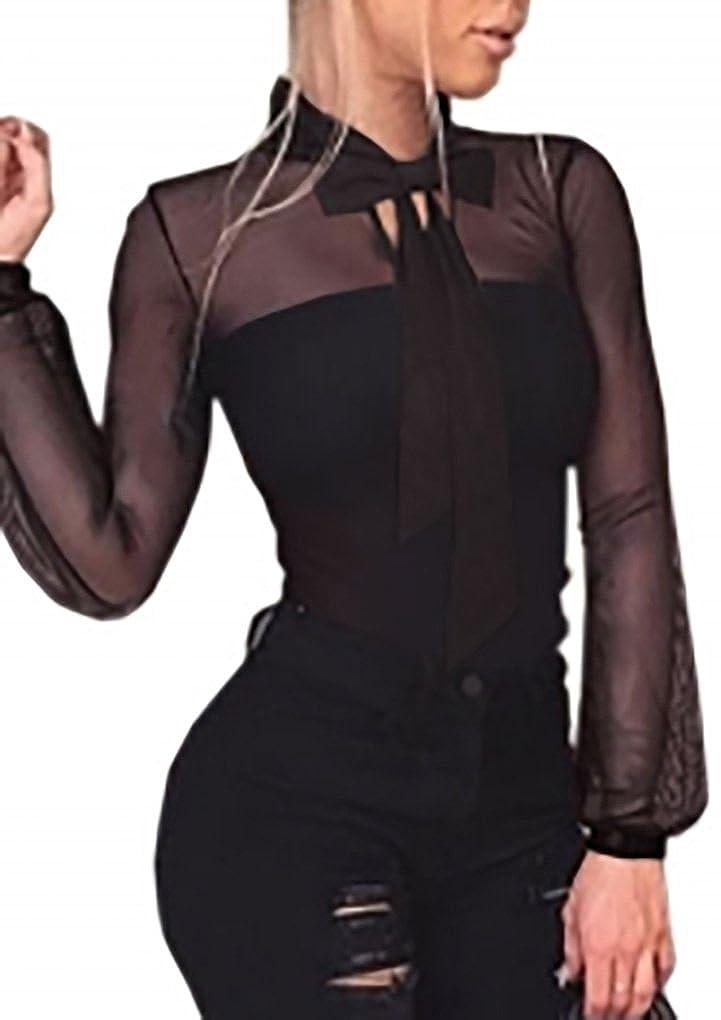 ABILIO Body Velato con abbottonatura Collo Cravatta Fiocco Sottogiacca Manica Lunga Sbuffo Camicia Party Nero