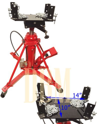 Manual/Air 1 Ton Hydraulic Transmission Jack Lift Telescopic 2 Stage 2000 LB ()
