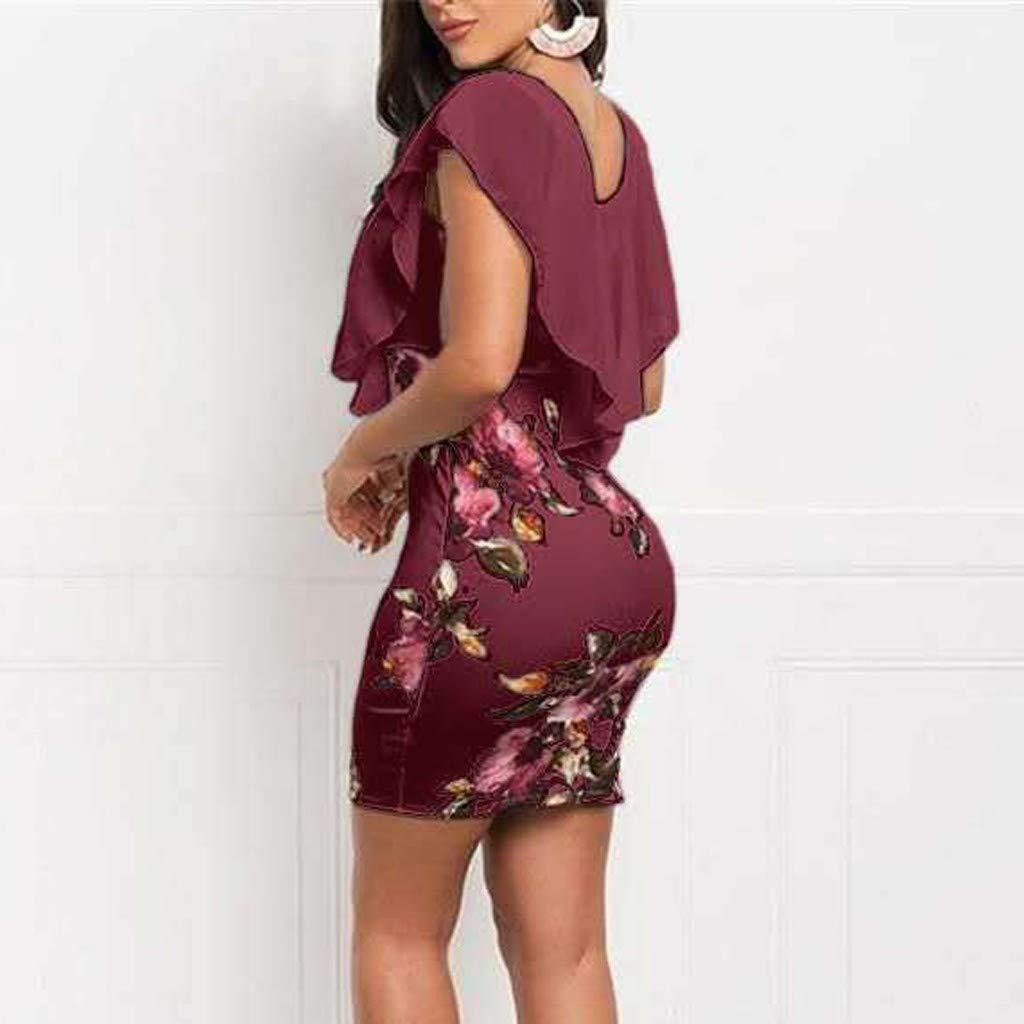 Steagoner Womens Floral Print Pencil Ruffle Dress Bodycon Party Slim Fit Short Sleeve Casual Beach Mini Dress Tight