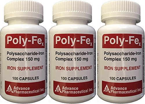 Polysaccharide Iron Complex 150 mg Capsules Iron Supplement 100 Capsules per Bottle Pack of 3 Total 300 Capsules