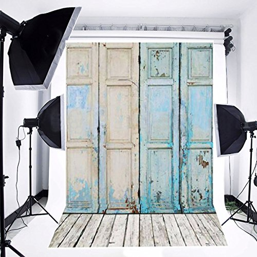 Backdrop Door - FUT Newest Blue Four Wooden Doors & Wooden Floor Vinyl Wedding Backdrop Background for Wedding, Baby, Newborn, Personal Photo 3x5ft
