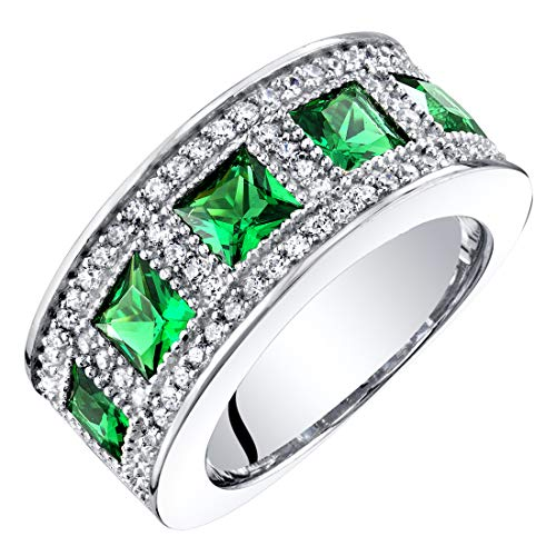 Sterling Silver Princess Cut Simulated Emerald Anniversary Ring Band Wide Width 2 Carats Size 7