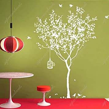 Spring Tree With Bridcage All White Beautiful Tree Wall Decals For Kids Rooms Teen Girls Boys Wallpaper Murals Sticker Wall Stickers Nursery Decor