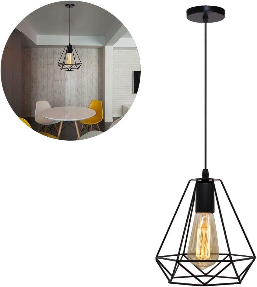 Mlamat - Lámpara de techo de estilo rústico e industrial, con jaula de metal geométrica, lámpara colgante vintage E27, lámpara de techo para la cocina, el dormitorio, el salón o el comedor: