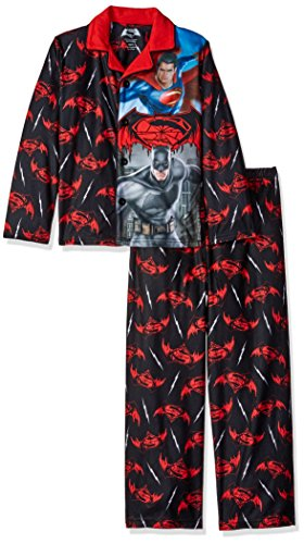 DC Comics Boys' Big Batman Vs Superman Sleepwear Coat Set, Black, Small
