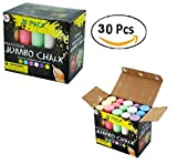 4'' Long Multi-Color Jumbo Chalk Set (Economy Pack of 30 Chalks) Erasable, Non-Toxic Chalk Sticks - Great For Chalkboard, Sidewalks, School, Art, Office & Home Use
