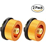 Camping Stove Adapter, Hinmay 2 Pack Camp Gas Convert Connector Auto-off Gas Cartridge Tank Adapter for Butane Canister to Screw Gas Cartridge