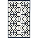Safavieh Amherst Collection AMT416M Ivory and Navy Indoor/Outdoor Area Rug (3′ x 5′)