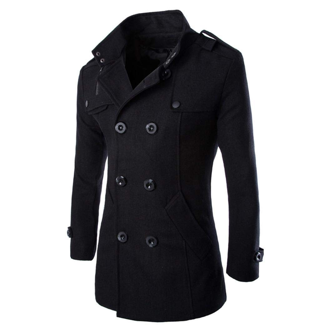 Giuoke Men Jacket Men Fashion Double Breasted Stand Collar Warm Trench Coat