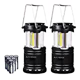 Camping Lantern Ultra Bright Audo Led and Cob Portable Outdoor Camping Light With Batteries Survival Kit for Camping Fishing(Black)