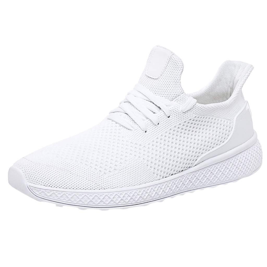 Men's Fashion Sneakers Comfortable Mesh Athletic Walking Casual Shoes Breathable Lace Up Shoes Gym Road Running Shoes Work Sneakers (White, US:8-Foot Length:10.2'')