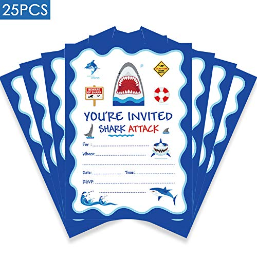 25 Pcs Shark Party Invitation,Fill in Shark Party or Birthday Party Invitation for Boys Birthday Party Supplies