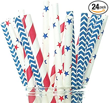 Set of 25 Patriotic Paper Straws for Fourth of July Party /& Labor Day Patriotic Party Red and Blue Pennant Banner Straws