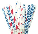 fourth of july party supplies - Patriotic USA Stars & Stripes Red, White & Blue Straws (Pack of 50) - 4th of July Party Supplies, Military Homecoming / Farewell Party Decorations