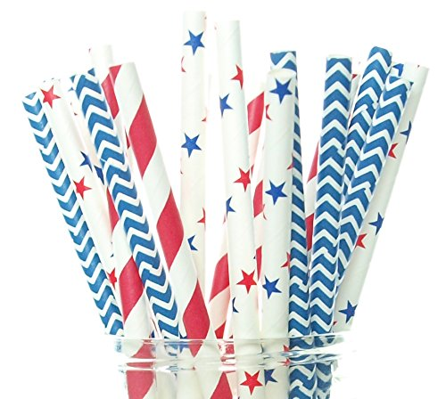 Patriotic Straw - Patriotic USA Stars & Stripes Red, White & Blue Straws (Pack of 50) - 4th of July Party Supplies, Military Homecoming / Farewell Party Decorations