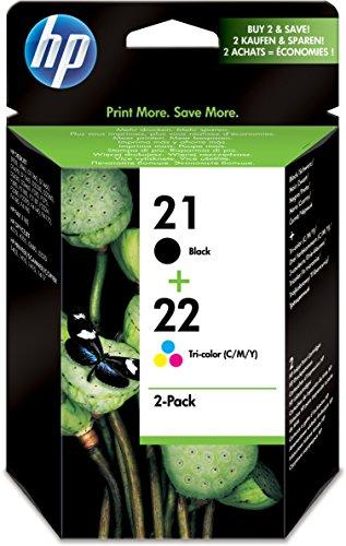 HP 21/22 Multipack Original Druckerpatronen (1x Schwarz, 1x Farbe) für HP Deskjet, HP Officejet, HP PSC