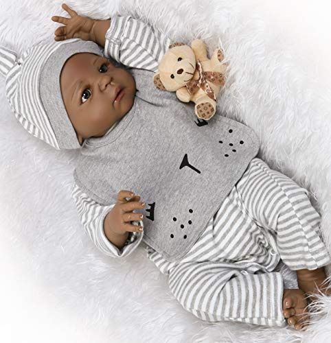 (Reborn Baby Dolls African American Boys Silicone Full Body Black Boy Lifelike Realistic Cute Doll Anatomically Correct Toddler Toy Doll Gifts Set for Ages 3+)