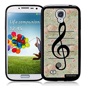 Cool Painting Galaxy S4 Case - S IV Case - Shawnex VIntage Floral Music Note Treble Clef Samsung Galaxy i9500 Case Snap On Case