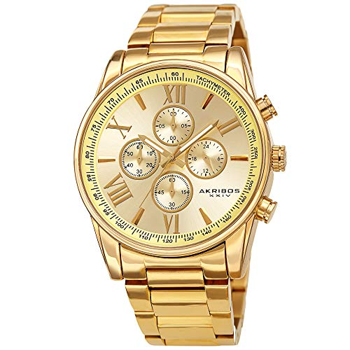 Father's Day Gift - Akribos Multifunction Stainless Steel Chronograph Watch - 4 Sub-Dials Complications Quartz - Men's Heavy Bracelet Watch - AK1072 (Yellow Gold)