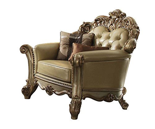 ACME Vendome Gold Patina Chair with 2 Pillows