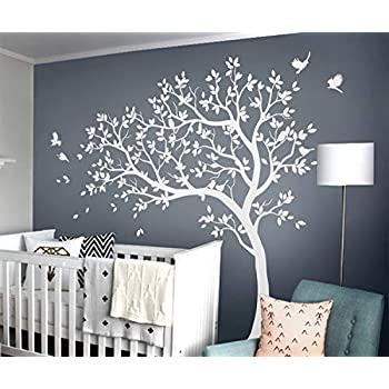 af7e4f0c4ee1 Studio Quee White Tree Wall Decals Large Nursery Tree Decals with Birds  Stunning White Tree Decals Wall Tattoos Wall Mural Removable Vinyl Wall  Sticker ...