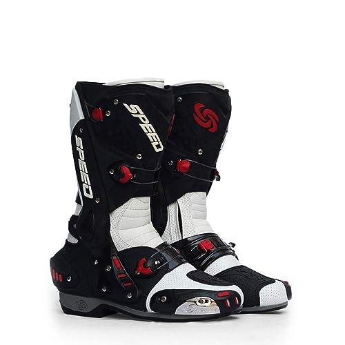 WWJQX Botas de Carreras Profesionales Zapatillas de Moto Zapatillas de Ciclismo Botas Anti-caídas Botas de Moto Zapatillas locomotoras Aire Libre: ...