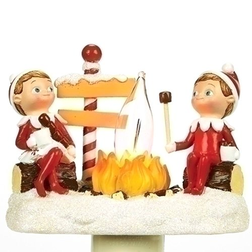 Roman Elf On The Shelf Cocoa Camp 4.5 Inch Polyresin Swivel Plug Flickering Night Light