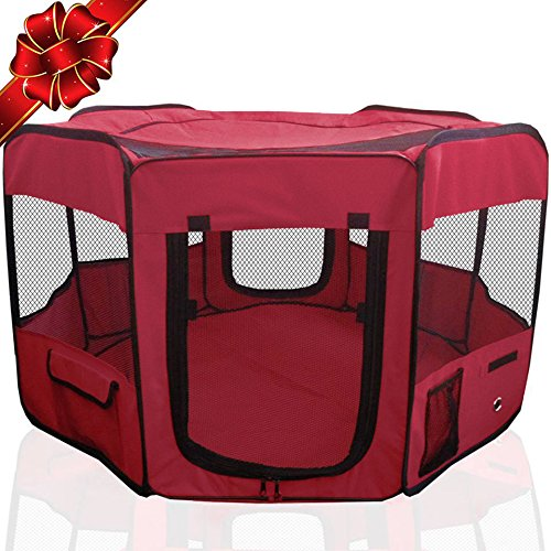 "FLASH SALE | Pet Playpen 45"" Indoor/Outdoor Cage. Best Exercise Kennel for Your Dog, Cat, Rabbit, Puppy, Hamster or Guinea Pig. Portable Pen for Easy Travel (Maroon)"
