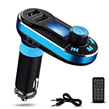Perbeat BT66 Wireless Bluetooth FM Transmitter Hands free Car Kit Radio Adapter MP3 Player Dual USB Car Charger support Micro SD Card USB Flash Disk for Smart phone, iPhone, iPad,etc (Blue)
