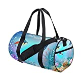 Ocean Sea World Fish Coral Aquatic Sports Gym Shoulder Handy Duffel Bags for Women Men Kids Boys Girls