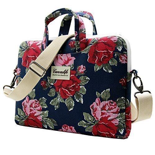 Canvaslife Flower Patten Laptop Messenger Bag 15 Inch Laptop Briefcase 15.4 Inch /15.6 Inch for Macbook Pro 15 / Dell/hp/lenovo/sony/toshiba/ausa/acer/samsung Laptop Shoulder Bag