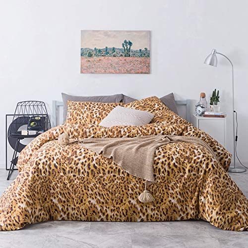 SUSYBAO 3 Piece Duvet Cover Set King Size 100% Cotton Gold Cheetah Leopard Bedding Set 1 Animal Background Print Duvet Cover with Zipper Ties 2 Pillow Cases Luxury Quality Soft Breathable Lightweight (Luxury Animal Bedding Print)