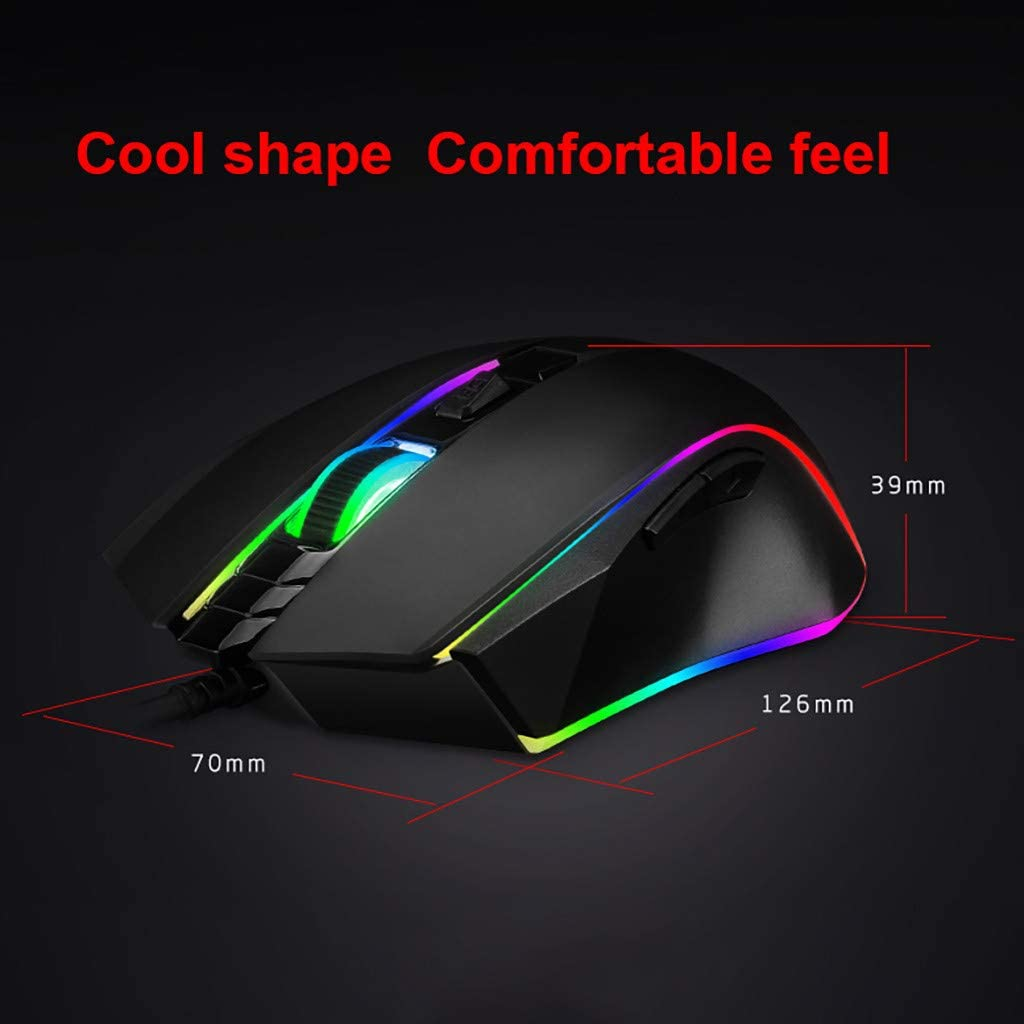 Sacow♛ Wired Gaming Mouse Ergonomic 6 Buttons 3500 DPI RGB for Windows PC Games