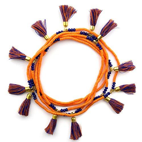 Orange & Blue Team Spirit Tassel Necklace… - Auburn Florida Football