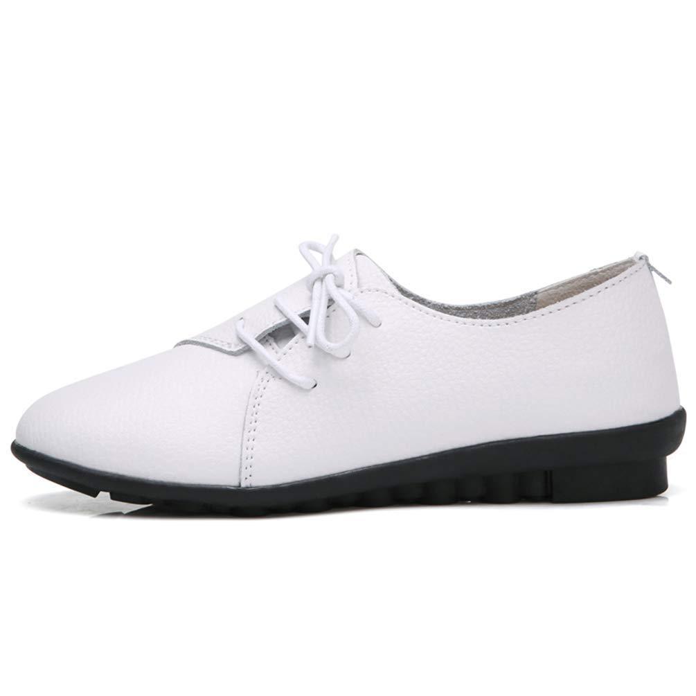 Fuxitoggo Chaussures décontractées pour Femmes Ballerines en Cuir d'été Mocassins Chaussures pour Dames (coloré : 505 White, Taille : 5.5=39 EU)