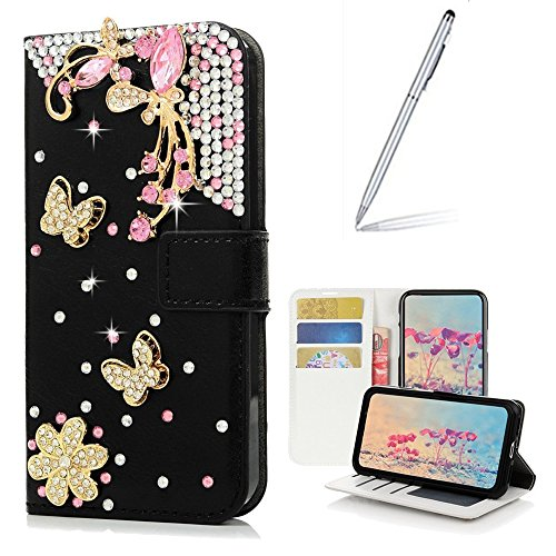 Galaxy J7 V Case with 2 in 1 Stylus and Ballpoint Pen,Yaheeda [Stand Feature] Butterfly Wallet Case Premium [Bling Luxury] Leather Flip Cover [Card Slots] For Samsung Galaxy J7 2017/J7 Sky Pro/J7 Perx by Yaheeda