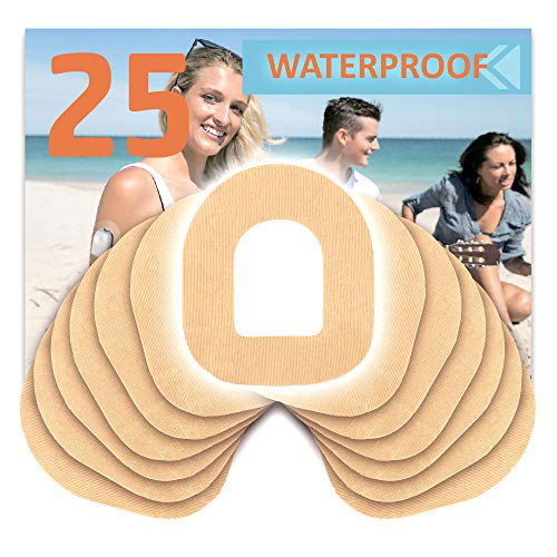 Fixic - 25 Pack - Adhesive Patches - Best for Omnipod - Best Waterproof Adhesive Patches - Pre Cut Back Paper - Tan Color - Best Long Fixation