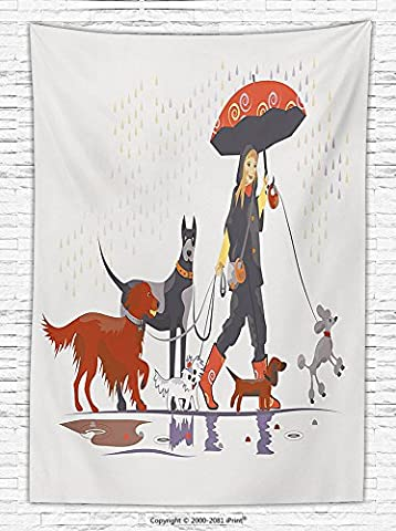 Dog Lover Decor Fleece Throw Blanket Young Modern Girl Taking Pack of Dog for a Walk in the Rain Fun Joyful Times Artsy Print Throw - Magenta Twin Pack