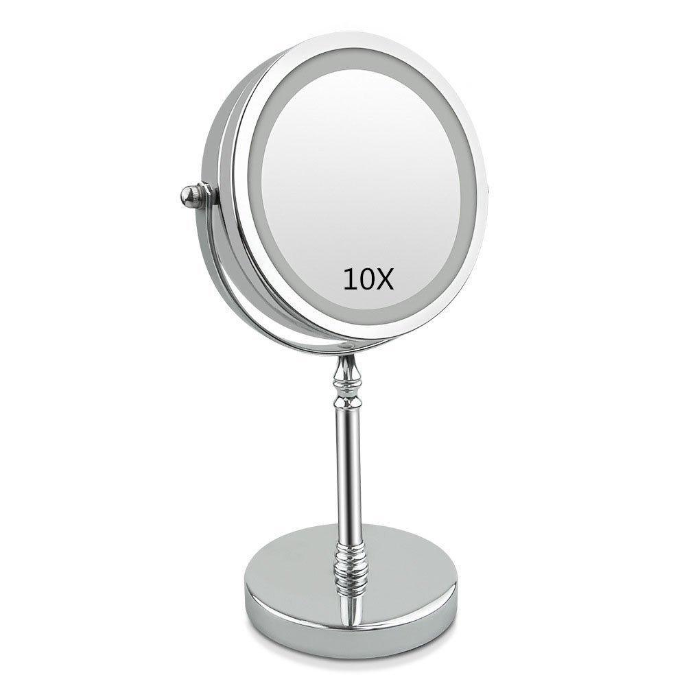 Progoco 10x LED Lampe de Miroir de Maquillage avec Rotation à 360° 17, 8cm Loupe Lighted Maquillage Miroir de courtoisie de Table en vestiaire de Salle de Bain Sunlar