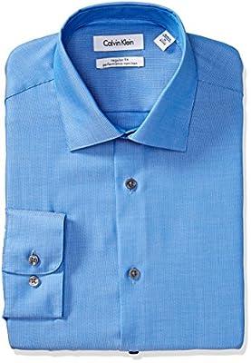 Calvin Klein Men's Regular Fit Non Iron Textured Stripe Shirt