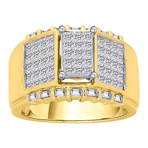 KATARINA Baguette and Princess Cut Diamond Men's Ring in 14K Yellow Gold (2 cttw, G-H, VS2-SI1) (Size-7.5)