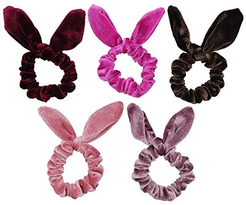 Floranea 5 Pcs Rabbit Ear Hair Scrunchies for Women Vintage Chic Velvet Scrunchy Bobbles Hair Ties Bands Ponytail Bun Holder for Girls Thick Hair Accessories Supplies (5 pcs)