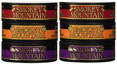 Smokey Mountain Snuff - 6 Can Sampler Pack (Grape + Peach + Cherry) (Herbal Chew Tobacco)