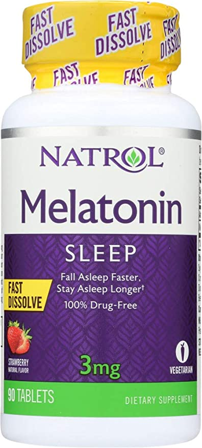 Natrol (NOT A CASE) Melatonin Fast Dissolve Strawberry Flavor 3 mg, 90 Tablets