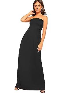 5e9dfe9ba4 WearAll Women s Shirring Boob Tube Off Shoulder Stretch Maxi Dress Ladies  Long Plain 8-14