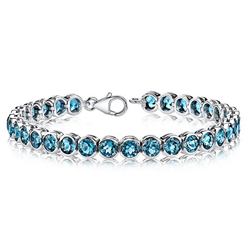 19.00 carats Round Cut London Blue Topaz Tennis Bracelet in Sterling Silver Rhodium Nickel Finish