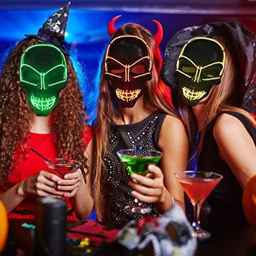 Divertente Maschere Halloween Costumi Halloween Accessori,Maschera Smorfia Alimentato LED Illumina la Maschere,Halloween la Maschere KiraKira Maschera LED Halloween Maschera Ice Blue