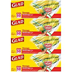 Glad Zipper Food Storage Plastic Bags - Gallon - 200 count